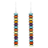 Multi Gemstone Drop Earrings Sterling Silver E1352-C71