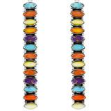 Multi Gemstone Drop Earrings Sterling Silver E1352-C71