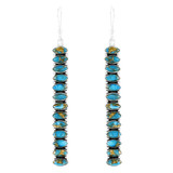 Sterling Silver Drop Earrings Matrix Turquoise E1352-C84
