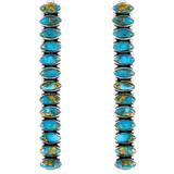 Sterling Silver Drop Earrings Matrix Turquoise E1352-C84