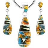 Spiny Turquoise Pendant & Earrings Set Sterling Silver PE4014-C29