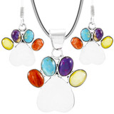 Dog Paw Multi-Gemstone Pendant & Earrings Set Sterling Silver PE4059-C71