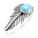 Turquoise Feather Ring Sterling Silver R2474-C75