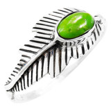 Green Turquoise Feather Ring Sterling Silver R2474-C76