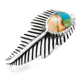 Spiny Turquoise Feather Ring Sterling Silver R2474-C89