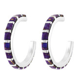 Purple Turquoise Hoop Earrings Sterling Silver E1122-C07