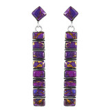 Purple Turquoise Earrings Sterling Silver E1305-C77