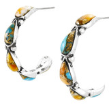 Spiny Turquoise Hoop Earrings Sterling Silver E1098-LG-C89