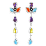 Multi Gemstones Chandelier Earrings Sterling Silver E1204-LG-C71