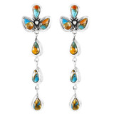 Spiny Turquoise Chandelier Earrings Sterling Silver E1204-LG-C89