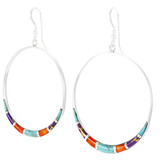 Multi Gemstone Earrings Sterling Silver E1064-C01