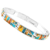 Spiny Turquoise Link Bracelet Sterling Silver B5518-C89