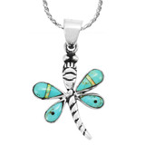 Turquoise Mini Dragonfly Pendant Sterling Silver P3071-SM-C21
