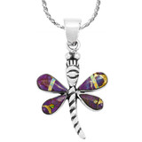 Purple Turquoise Mini Dragonfly Pendant Sterling Silver P3071-SM-C23