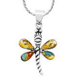 Spiny Turquoise Mini Dragonfly Pendant Sterling Silver P3071-SM-C89