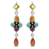 Multi Gemstones Earrings Sterling Silver E1033-C71