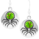 Spider Green Turquoise Earrings Sterling Silver E1356-C76