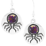 Spider Purple Turquoise Earrings Sterling Silver E1356-C77