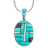 Turquoise Pendant Sterling Silver P3108-C55