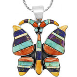 Butterfly Multi Gemstone Pendant Sterling Silver P3290-C01