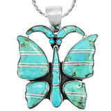 Butterfly Turquoise Pendant Sterling Silver P3290-C05
