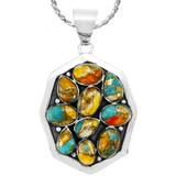Spiny Turquoise Pendant Sterling Silver P3291-C89
