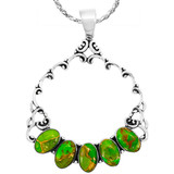 Green Turquoise Pendant Sterling Silver P3292-C76