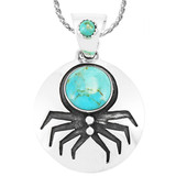 Spider Turquoise Pendant Sterling Silver P3296-C75
