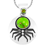Spider Green Turquoise Pendant Sterling Silver P3296-C76