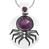 Spider Purple Turquoise Pendant Sterling Silver P3296-C77