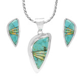 Turquoise Pendant & Earrings Set Sterling Silver PE4006-C21