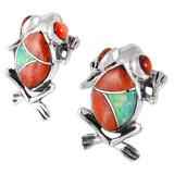 Frog Spiny Oyster Earrings Sterling Silver E1127-C24