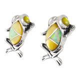 Frog Mother of Pearl Earrings Sterling Silver E1127-C99
