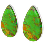 Green Turquoise Clip-On Earrings Sterling Silver E1137-C76