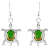Turtle Green Turquoise Earrings Sterling Silver E1158-C76