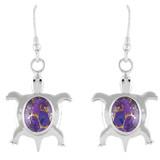 Turtle Purple Turquoise Earrings Sterling Silver E1158-C77