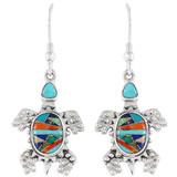Turtle Multi Gemstone Earrings Sterling Silver E1161-C00