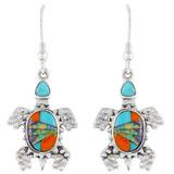 Turtle Multi Gemstone Earrings Sterling Silver E1161-C01