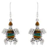 Turtle Tiger Eye Gemstone Earrings Sterling Silver E1161-C34