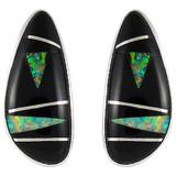 Black Opal Gemstone Earrings Sterling Silver E1125-C27