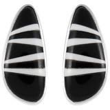 Black White Gemstone Earrings Sterling Silver E1125-C35