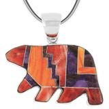 Bear Multi Gemstone Pendant Sterling Silver P3052-C37
