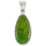 Green Turquoise Pendant Sterling Silver P3103-C76