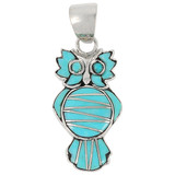 Owl Turquoise Pendant Sterling Silver P3110-C05
