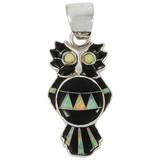 Owl Black Opal Gemstone Pendant Sterling Silver P3110-C27