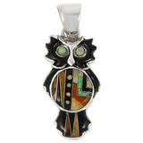 Owl Tiger Eye Gemstone Pendant Sterling Silver P3110-C34