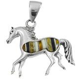 Horse Tiger Eye Gemstone Pendant Sterling Silver P3002-C32
