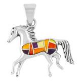 Horse Multi Gemstone Pendant Sterling Silver P3002-C36