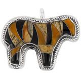 Horse Tiger Eye Gemstone Pendant Sterling Silver P3053-C33