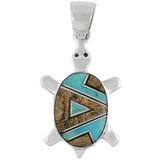 Turtle Tiger Eye Gemstone Pendant Sterling Silver P3069-C04